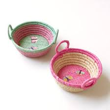 Mini Round Raffia Basket Embroidered Butterflies Rice DK