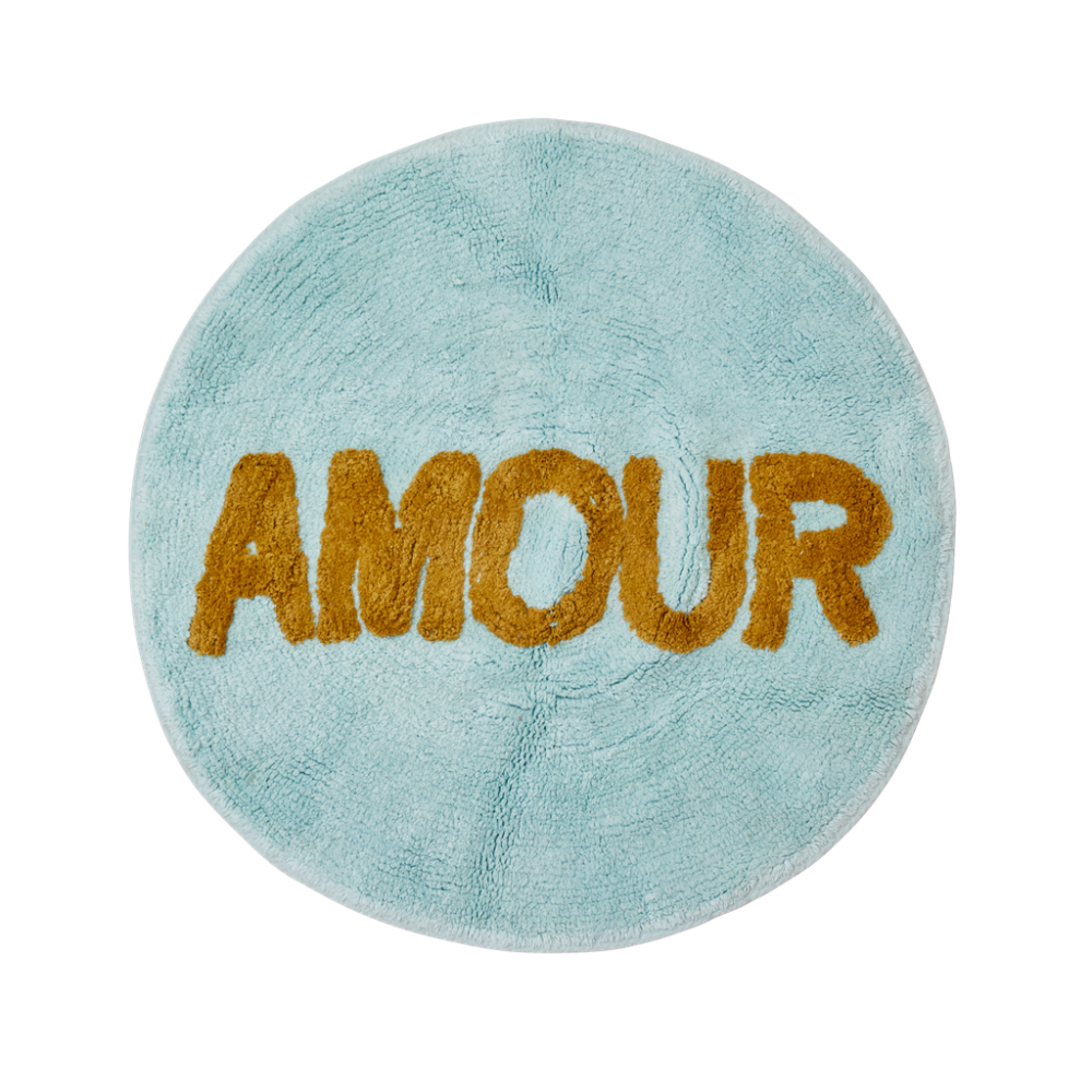 Round Floor Mat in Mint Blue with the word AMOUR By Rice DK