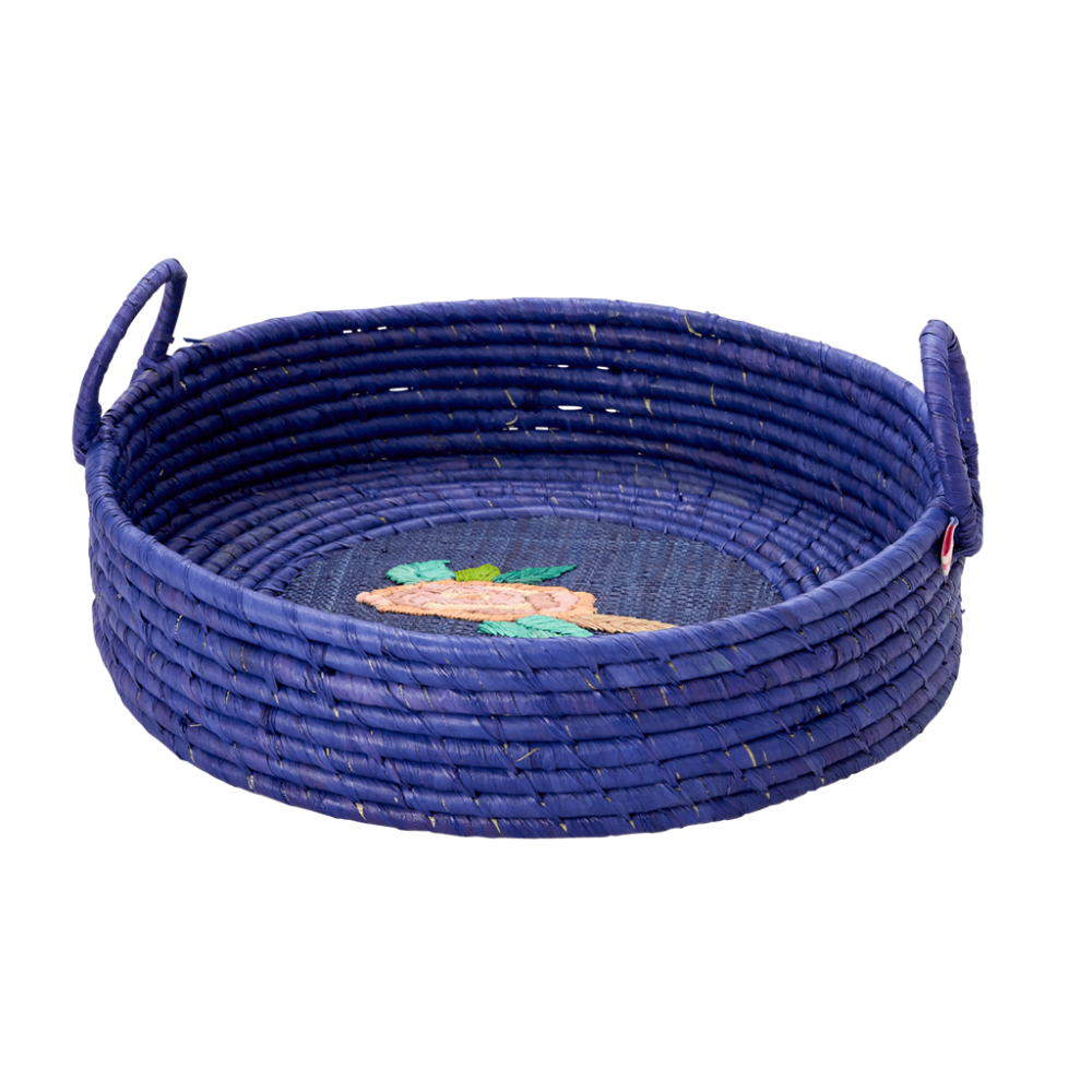 Round Raffia Basket In Blue With Embroidered Rose Rice DK
