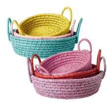 Set of 3 Round Colourful Raffia Baskets RICE DK