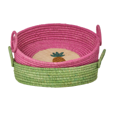 Round Raffia Bread Basket Embroidered Fruit Rice DK