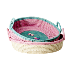 Round Raffia Bread Basket Embroidered Butterflies Rice DK