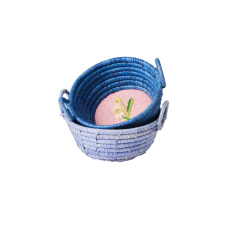 Mini Round Raffia Basket Embroidered Swans or Snowdrop Rice DK