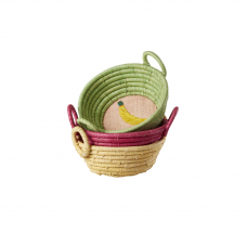 Mini Round Raffia Basket Embroidered Fruit Rice DK