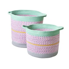 Round Rope Mulitcoloured Storage Baskets By Rice DK