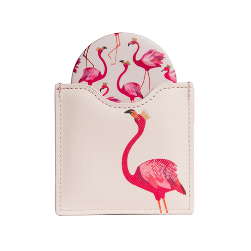 Flamingo Print Cosmetic Mirror By Sara Miller