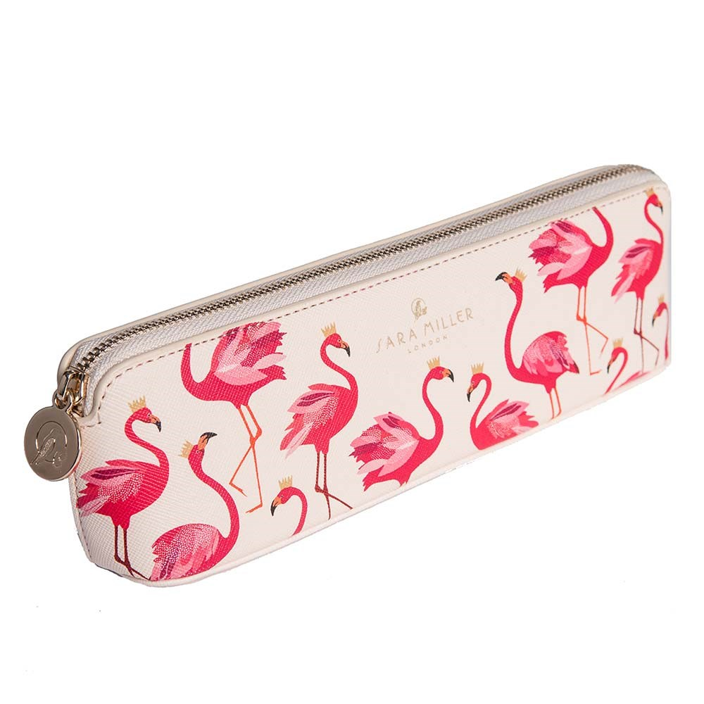 Flamingo Print Pencil Case By Sara Miller