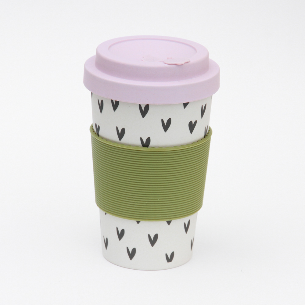 Scattered Heart Print Bamboo Coffee Cup By Caroline Gardner