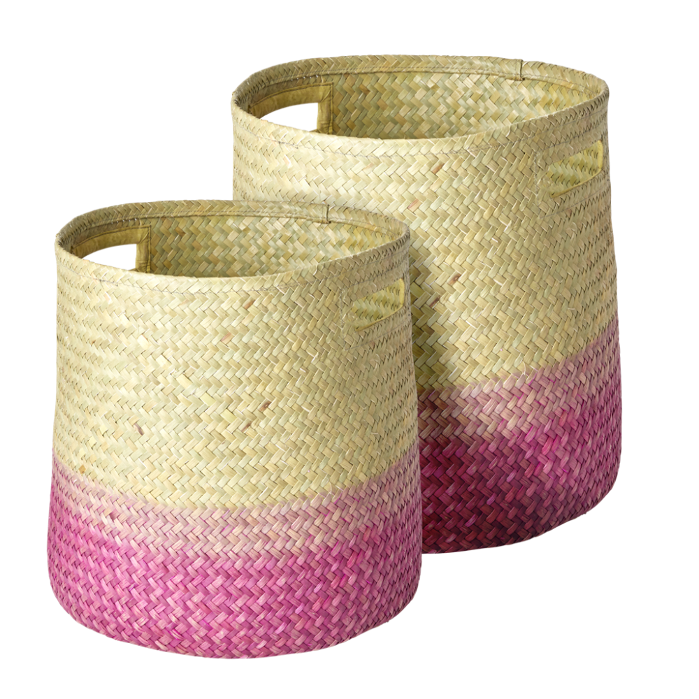 Seagrass Round Woven Storage Baskets in Gradient Pink By Rice DK