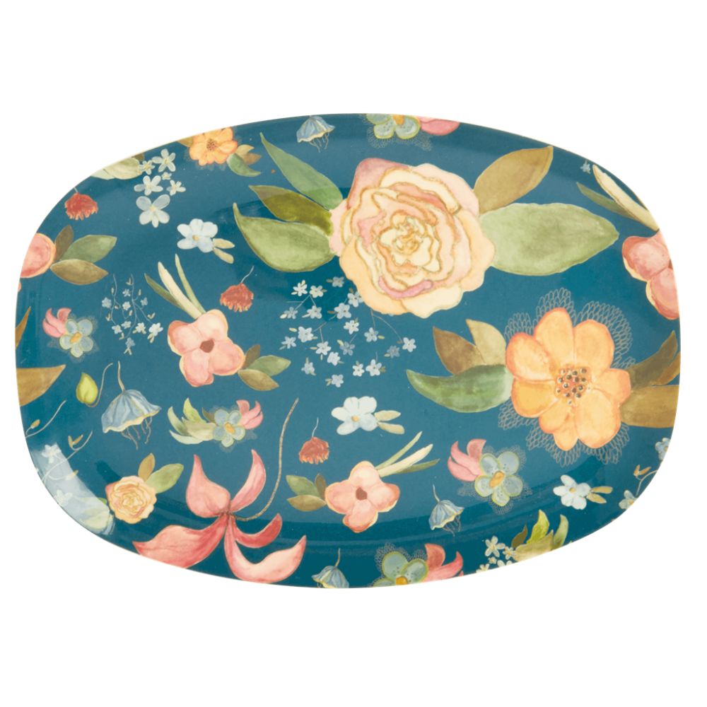 Selma's Fall Flower Print Rectangular Melamine Plate By Rice DK