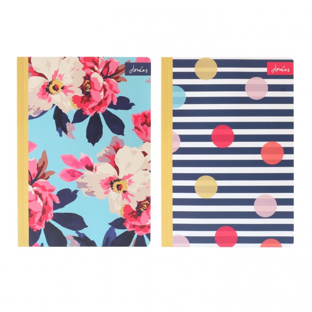 Set of 2 A5 Floral and Striped Print Notebooks By Joules