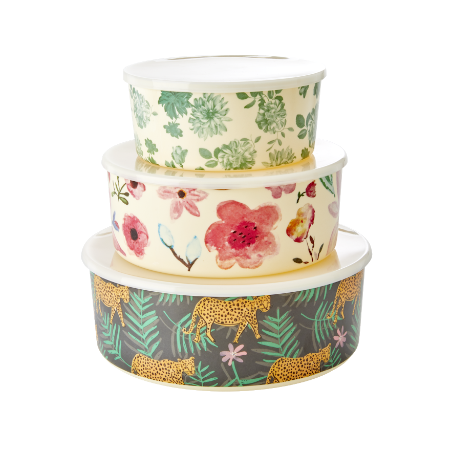 Set of 3 Melamine Storage Containers in Pretty Prints By Rice DK