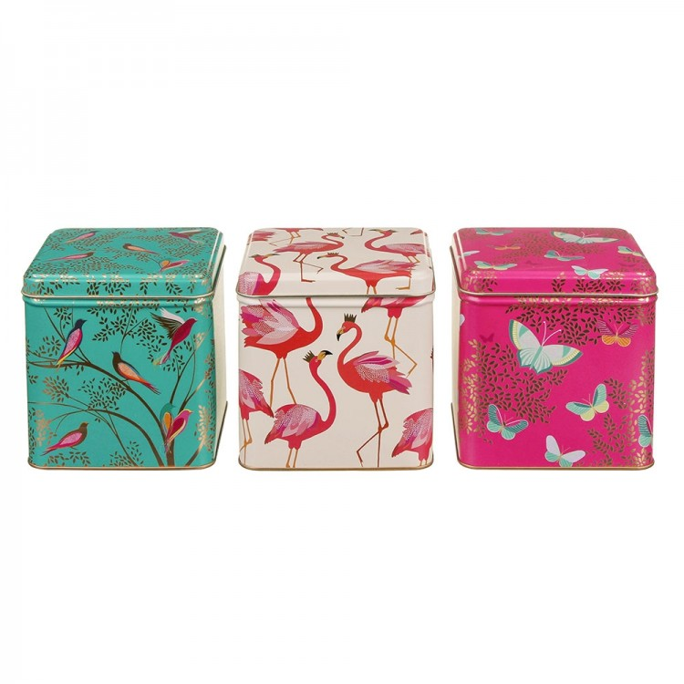 Sara Miller Set of 3 Square Tins Flamingo, Bird & Butterfly Print