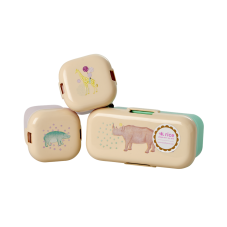 Set of 3 Mini Lunch or Snack Boxes Animal Prints Rice DK