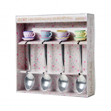 Set of 4 Teaspoons with Resin Cup & Saucer Decoration By Rice DK