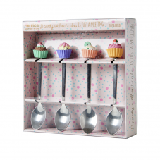 Set of 4 Teaspoons with Resin Cupcake Decoration By Rice DK