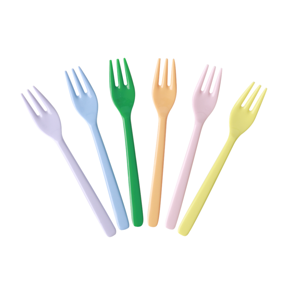 Set of 6 Melamine Forks Let's Summer Colours Collection Rice DK