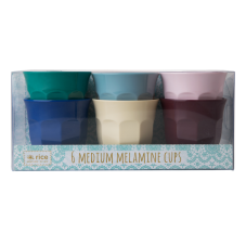 Set of 6 Urban Coloured Melamine Cups By Rice DK