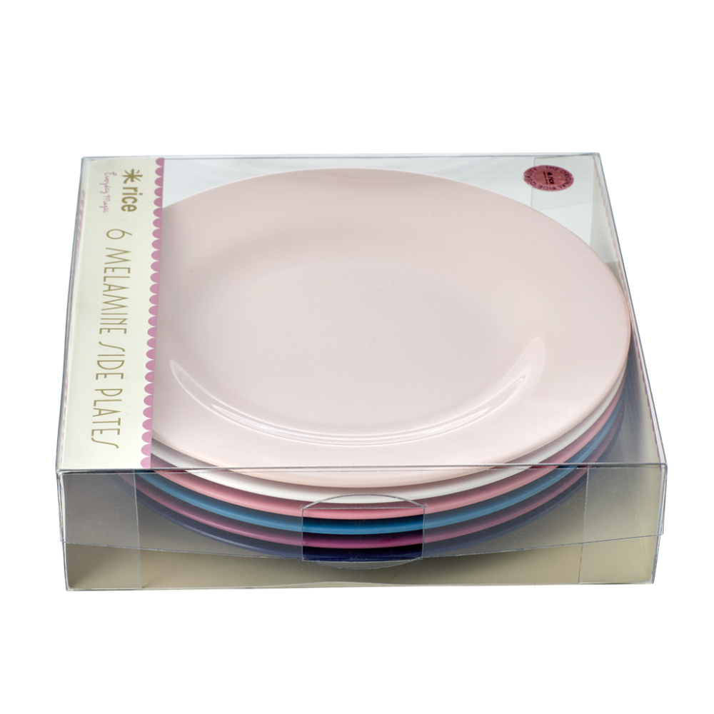 Set of 6 Simply Yes Coloured Melamine Side or Kids Plates By Rice DK