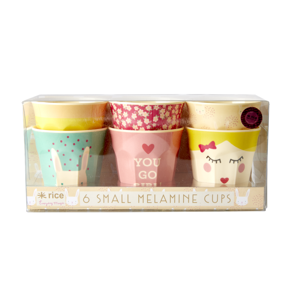 Set of 6 Small Kids Melamine Cups Rabbit Print Rice DK