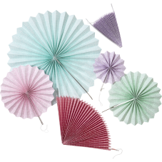 Set of 6 Colourful Hanging Paper Fans Rice DK