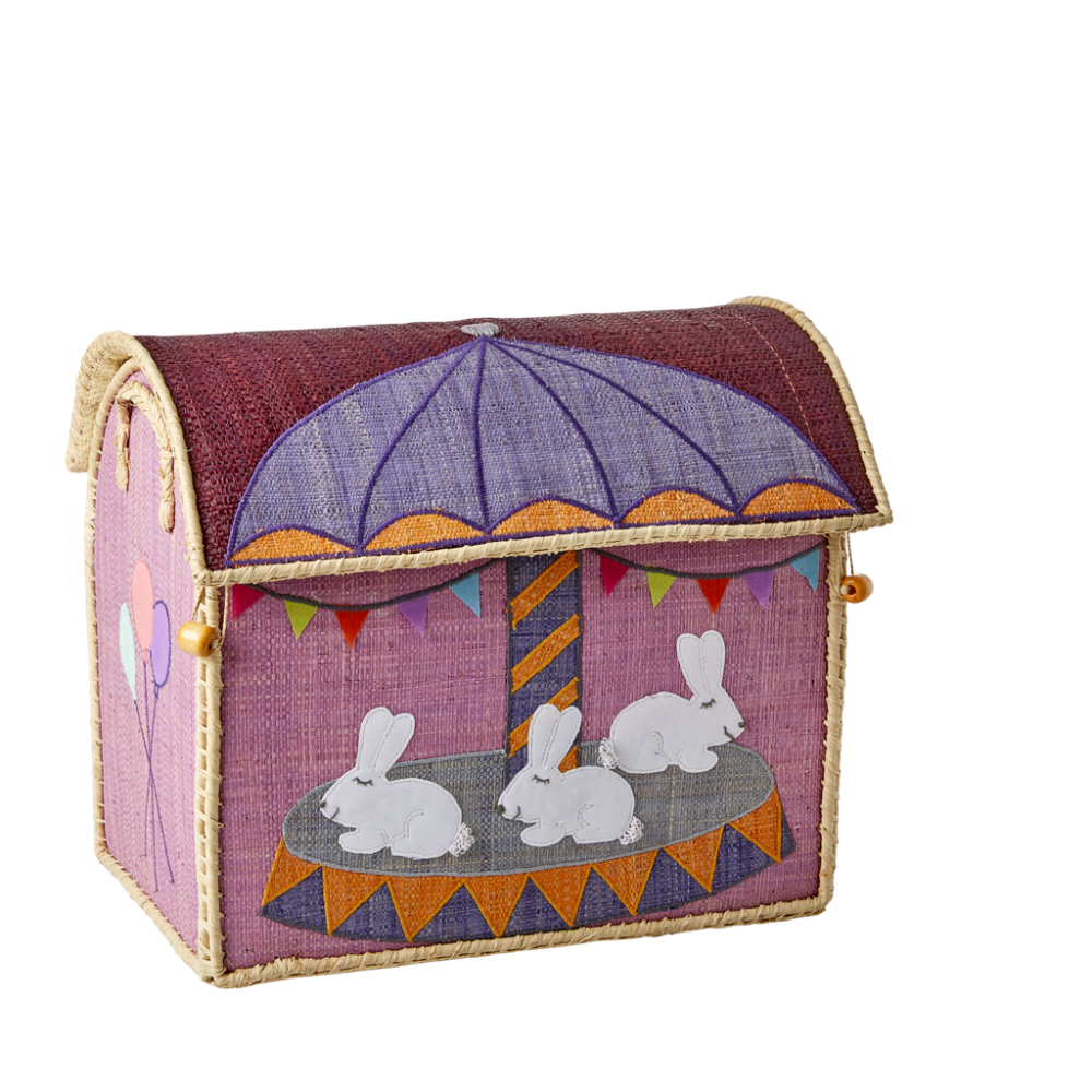 Carousel Theme Small Raffia Toy Basket Rice DK