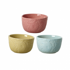 Small Embossed Stoneware Bowls Assorted Colours By Rice DK