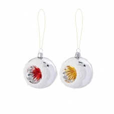 Small Christmas Glass Baubles Red or Gold By Rice DK