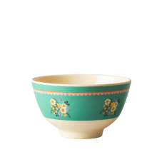 Green Flower Print Small Melamine Bowl By Rice DK
