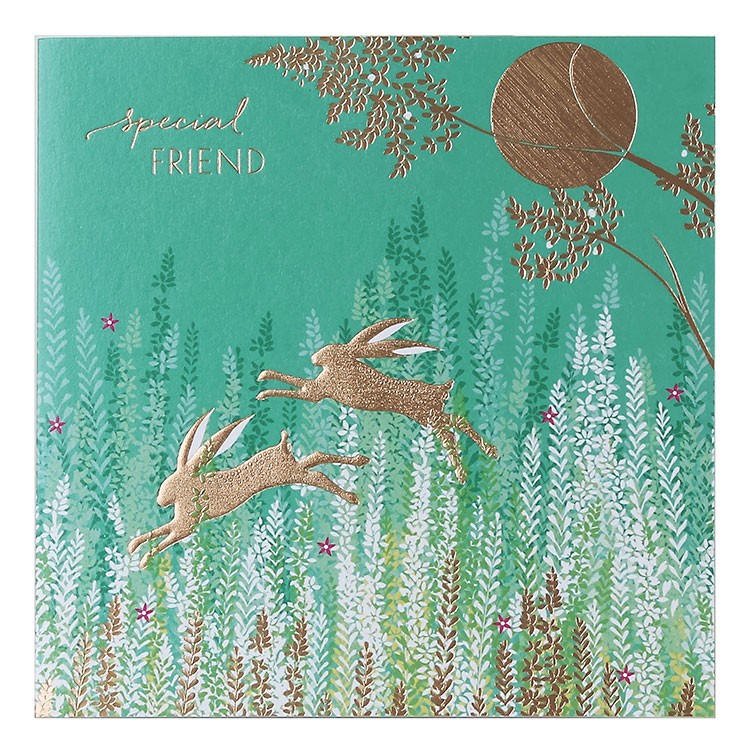 Leaping Rabbits  Special Friend Card By Sara Miller London