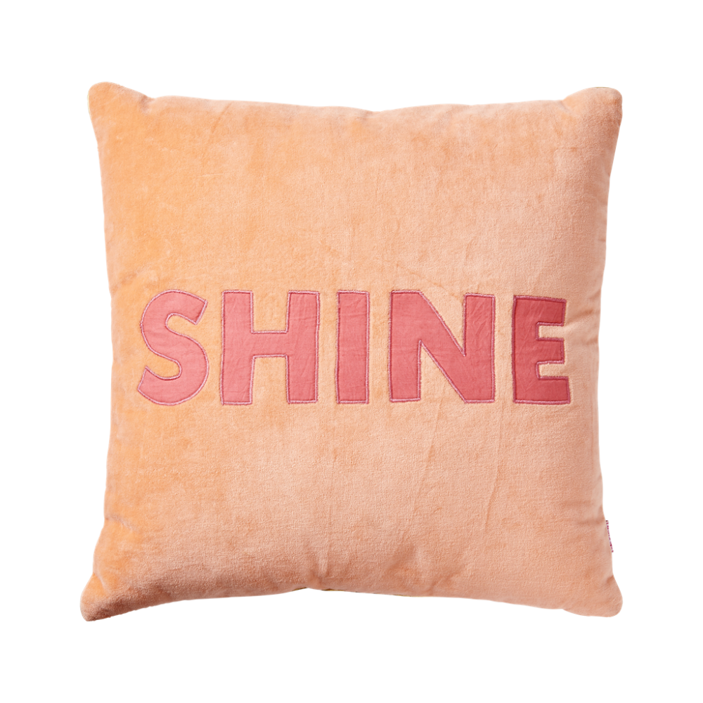 Square Coral Velvet Cushion ''SHINE'' By Rice DK