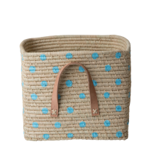 Natural Raffia Square Basket With Hand Painted Blue Spots Rice DK