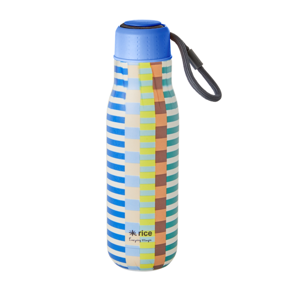 Stripe Print Stainless Steel Water Bottle By Rice DK