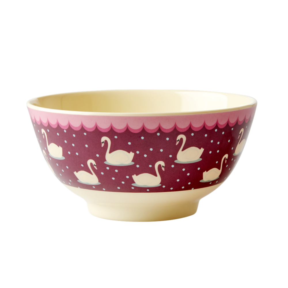 Swan Print Melamine Bowl In Bordeaux By Rice DK