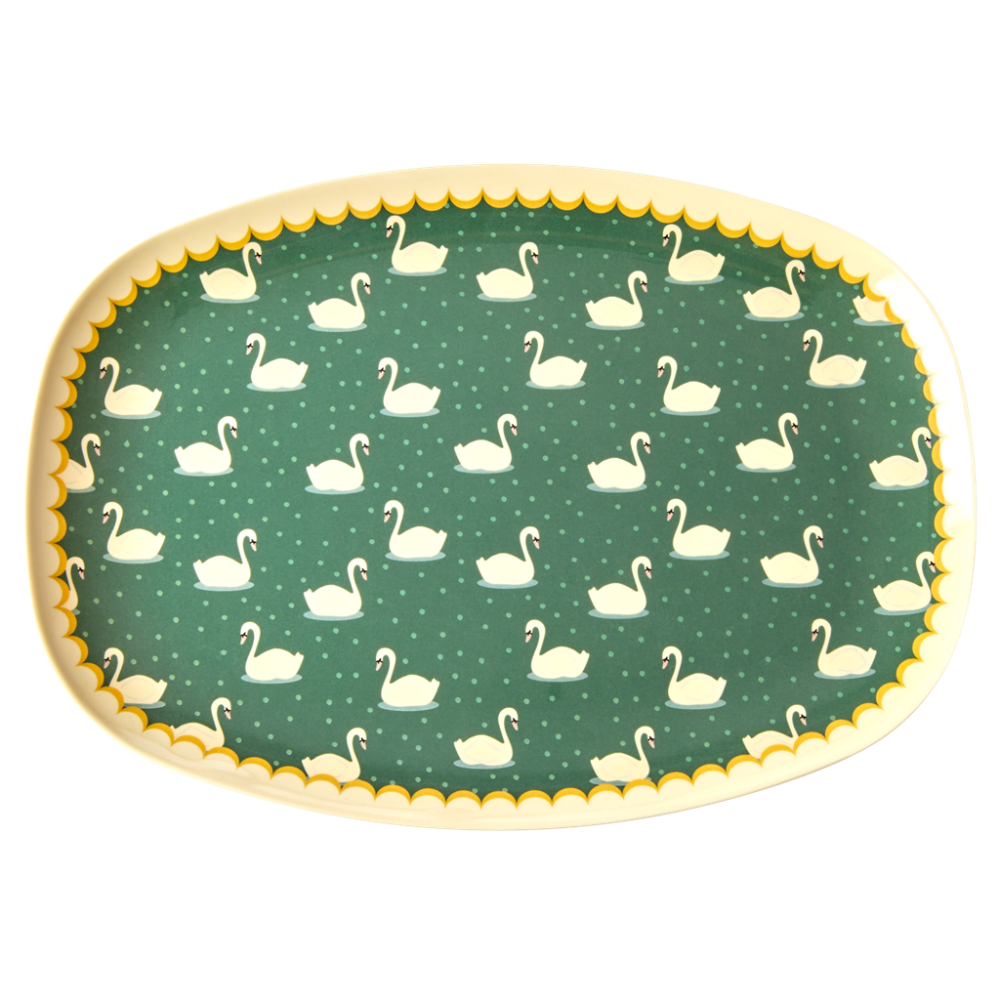 Swan Print Rectangular Melamine Plate In Green By Rice DK