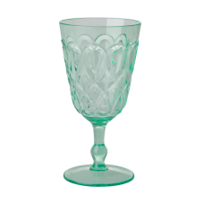 Pastel Green Coloured Swirl Embossed Acrylic Wine Glass Rice DK