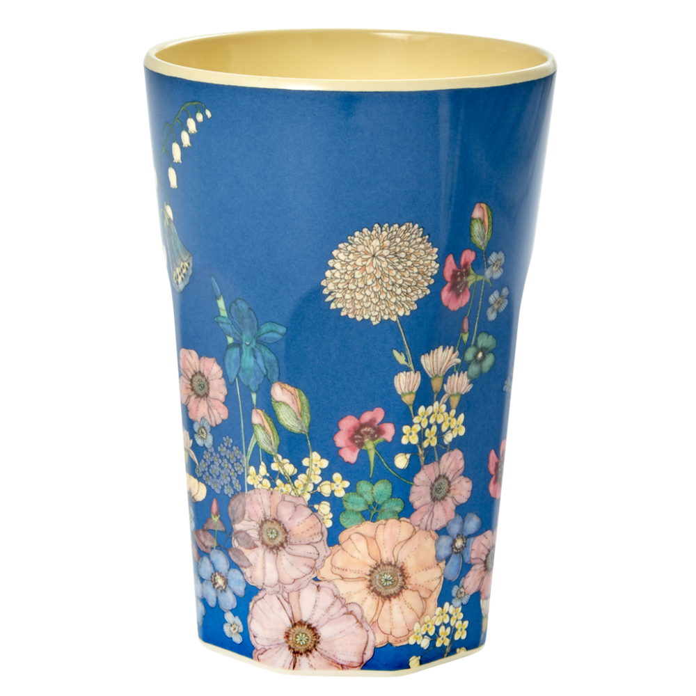 Flower Collage Print Tall Melamine Cup Rice DK