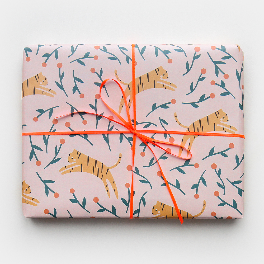 Colourful Tiger Print Wrapping Paper By Caroline Gardner