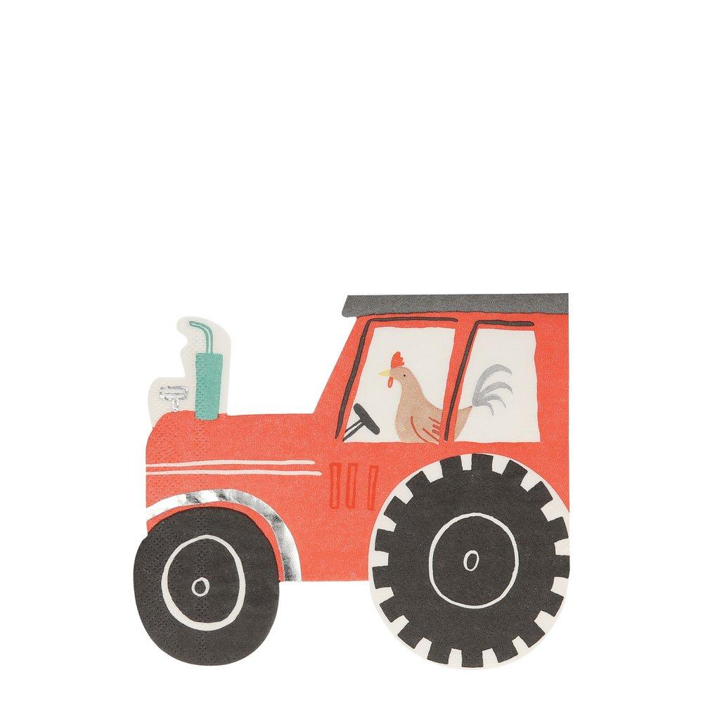 Red Tractor Shaped Paper Napkins Meri Meri