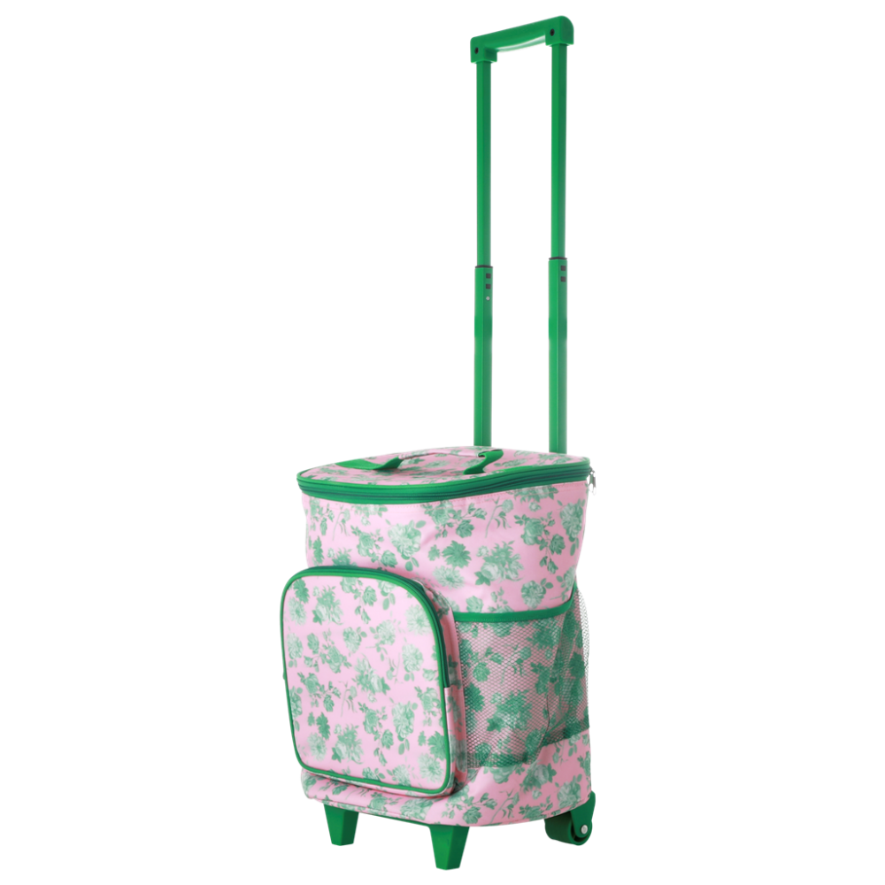 Trolley Cooler Bag Pink & Green Rose Print By Rice DK