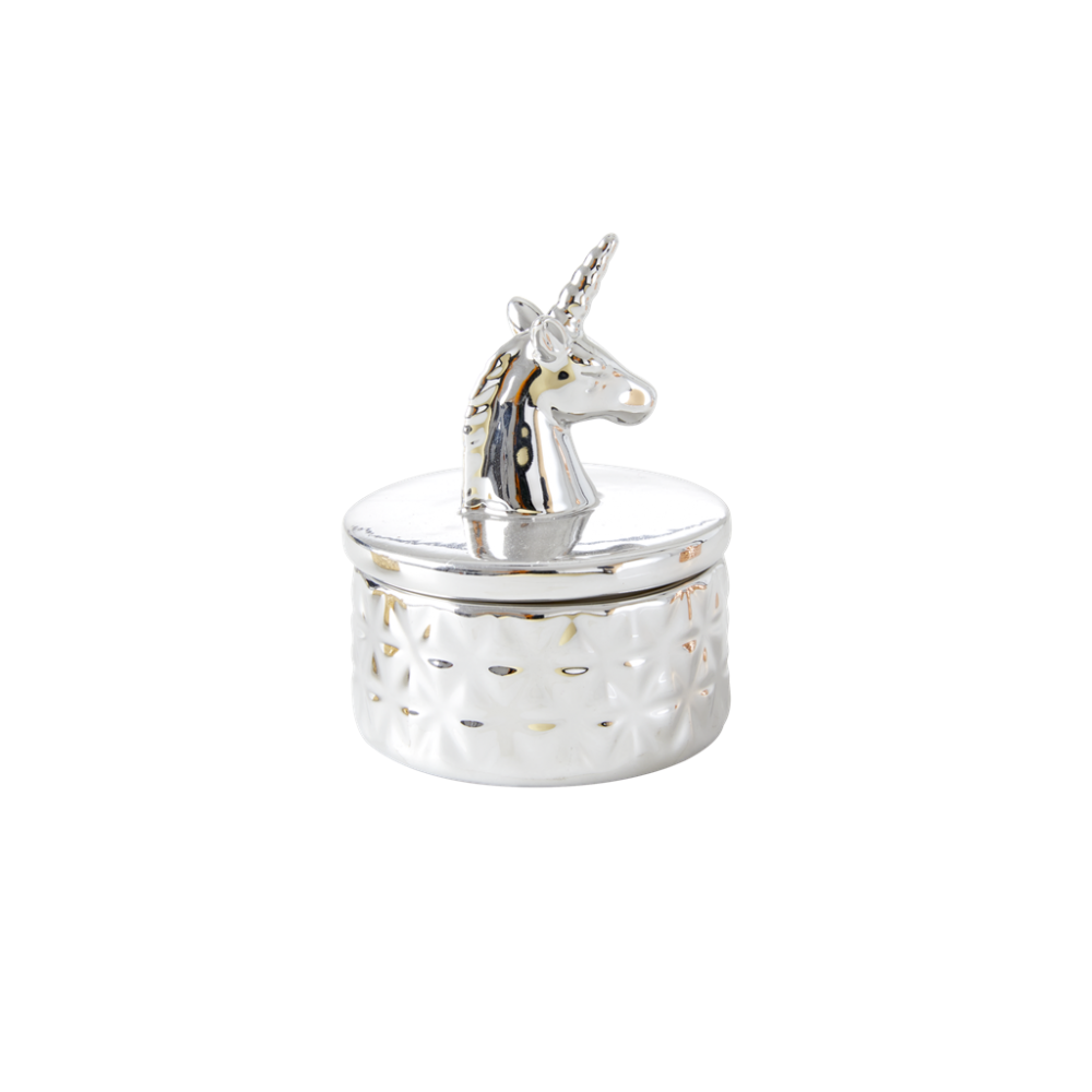 Silver Porcelain Trinket Box With Unicorn by Rice DK
