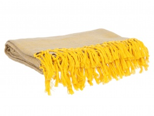 Yellow Cotton Blanket / Throw by PT Living