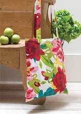 Caroline Gardner Painted Floral Cotton Canvas Bag