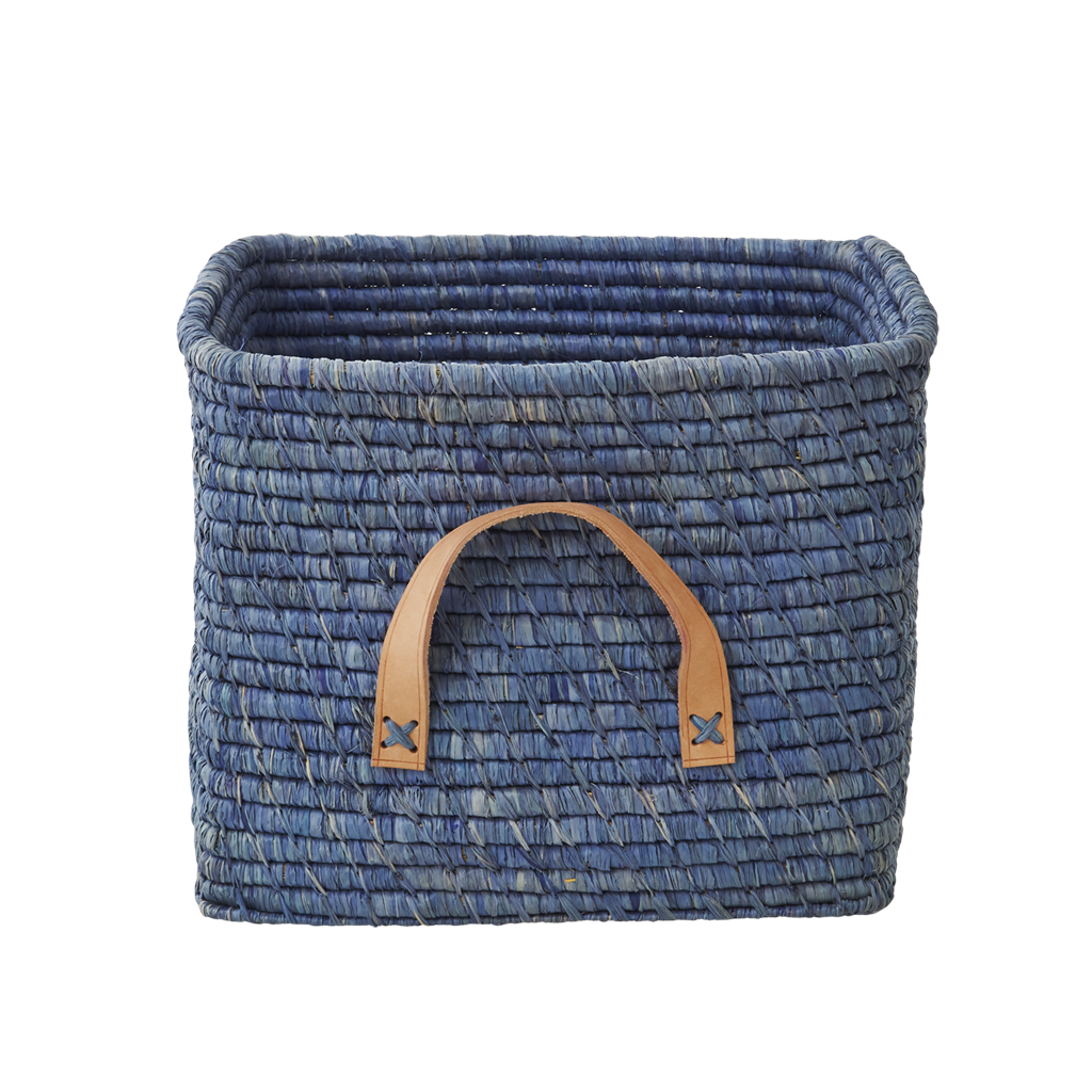Charmant Blue Square Raffia Basket Leather Handles Rice DK