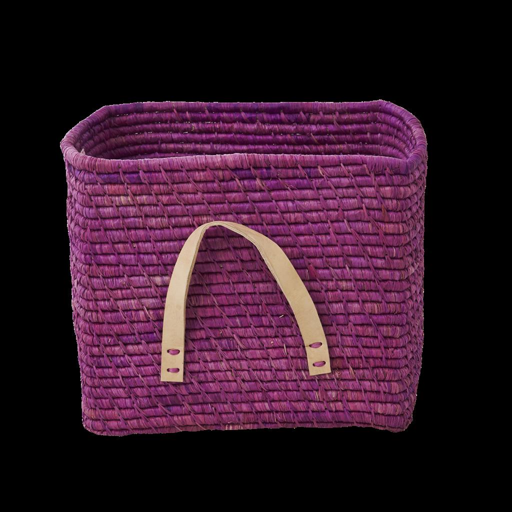 Charming Lavender Raffia Square Storage Basket Rice DK