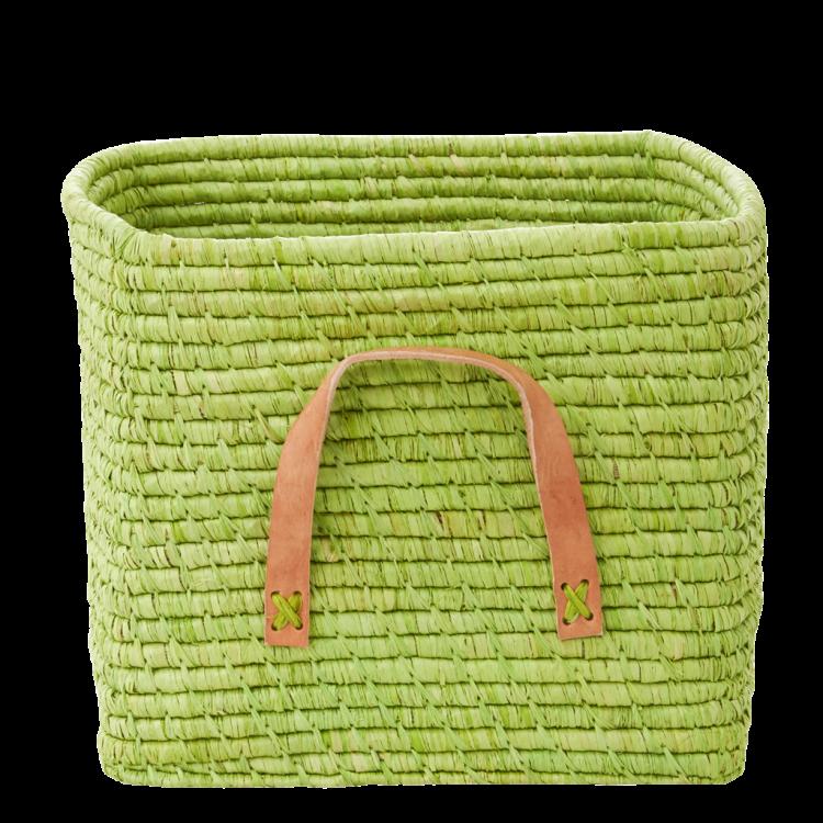Charmant Bright Green Raffia Square Storage Basket Rice DK