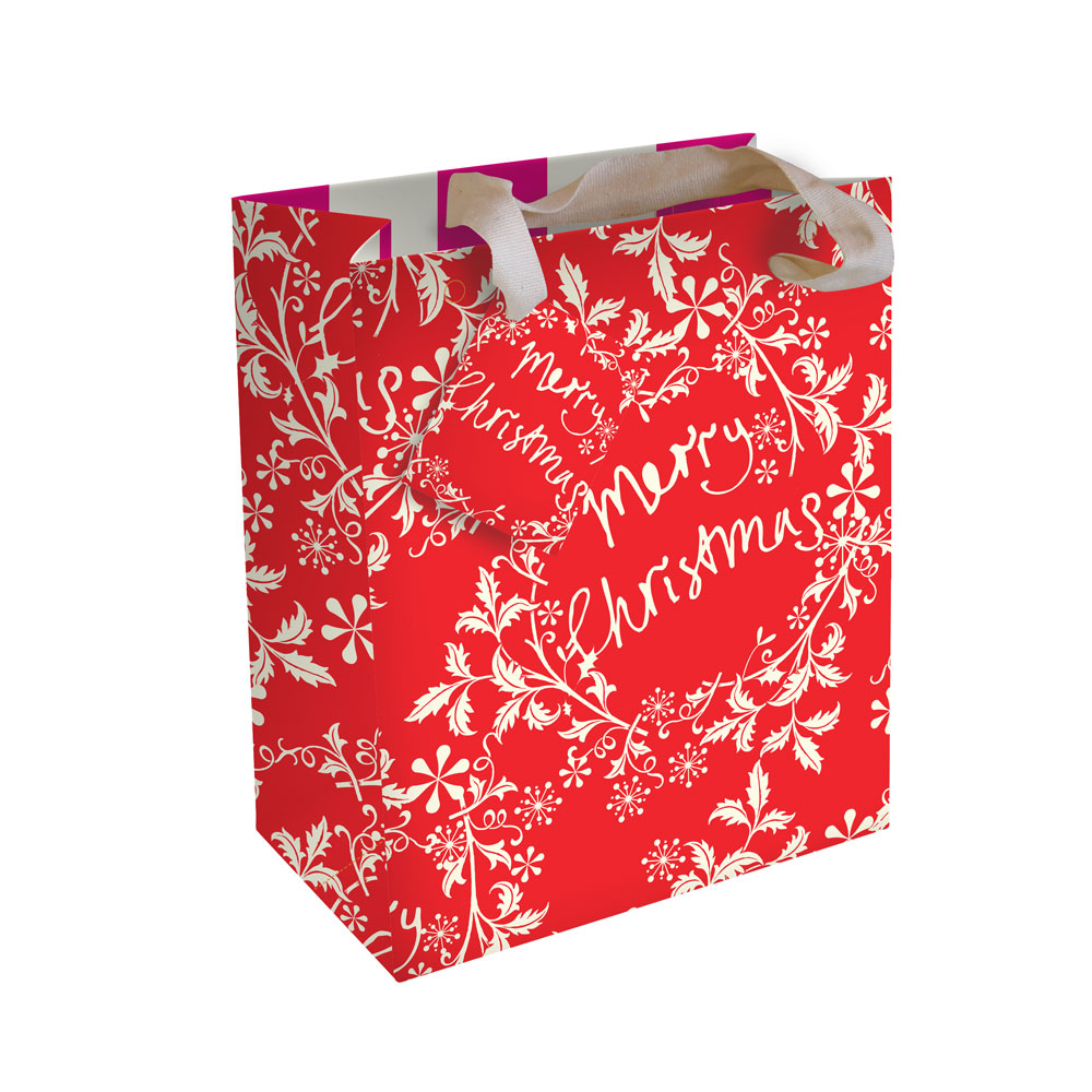 Caroline Gardner Small Christmas Gift Bag Red Wreath
