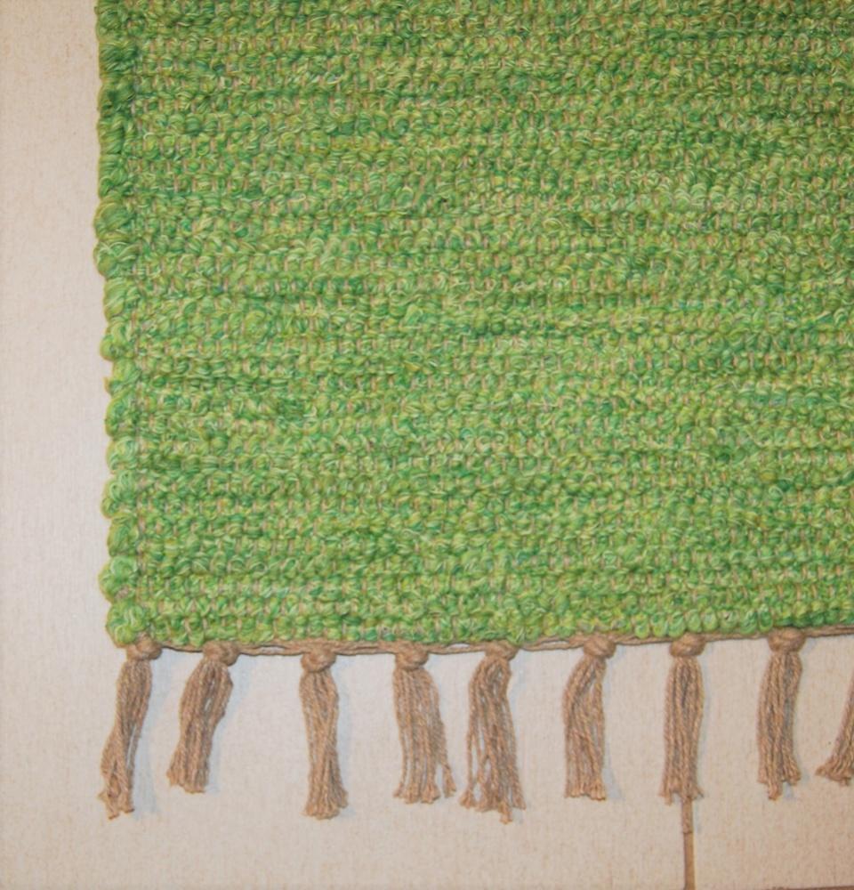 Medium Sized Handmade Green Cotton Portugese Rug