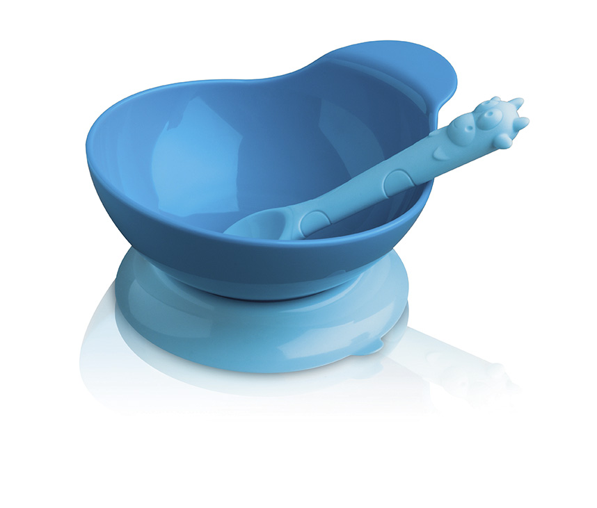 Blue Silicone Baby Bowl Amp Spoon Set Cks Zeal Vibrant Home