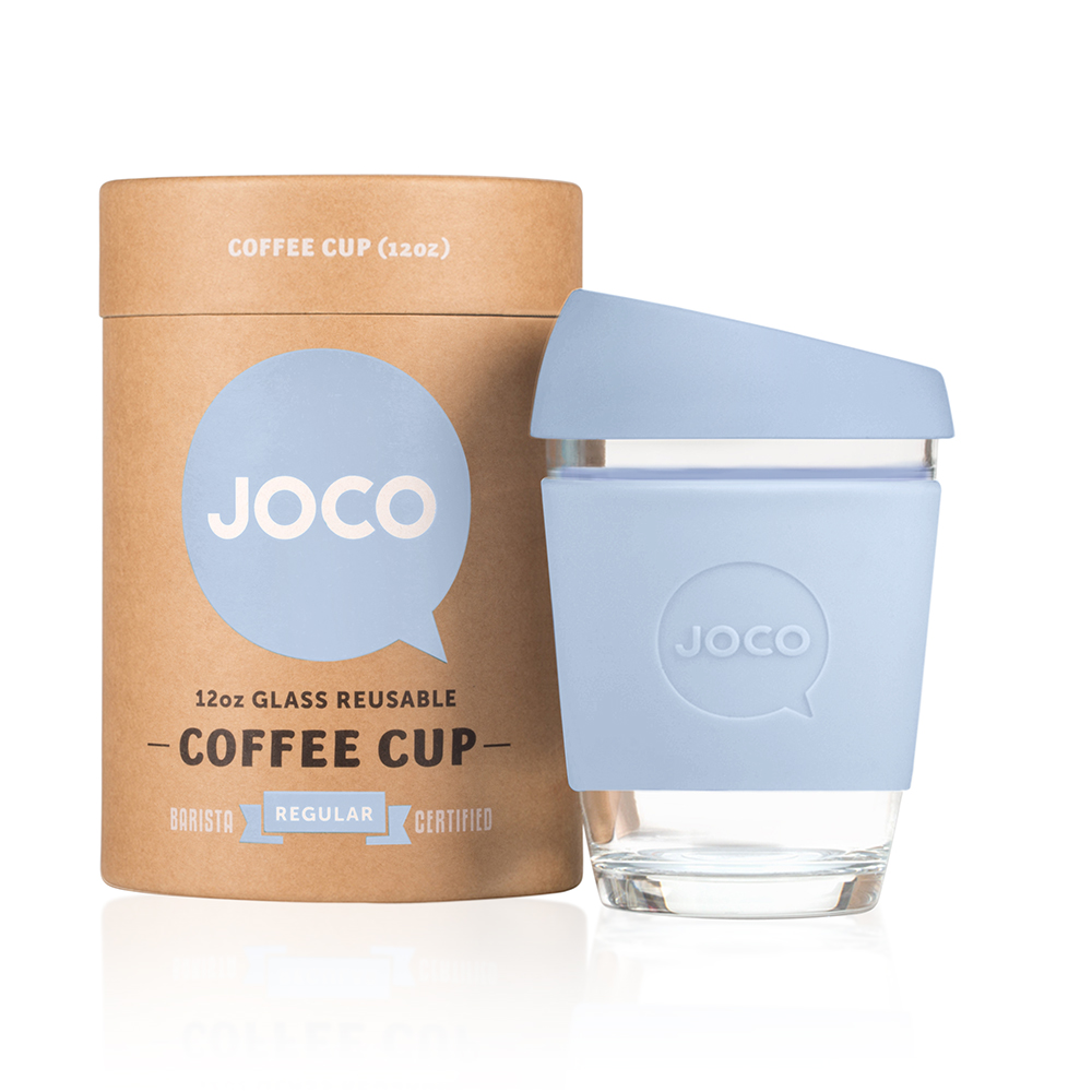 Joco Cup Glass Travel Coffee Mug Vintage Blue Vibrant Home